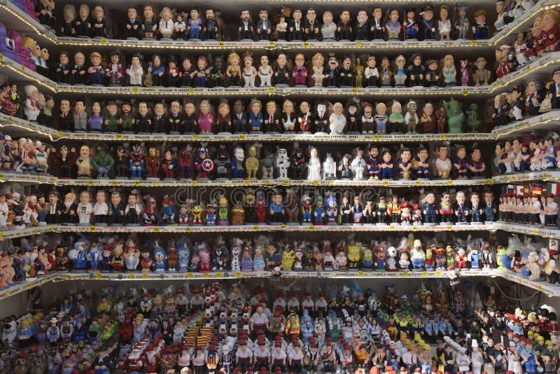Santa Llucia Christmas market in Barcelona, Spain. BARCELONA, SPAIN - NOVEMBER 28, 2017: Stall in the Mercat de Santa Llucia, the popular Christmas market of stock photography