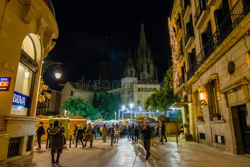 Santa Llucia christmas market at night in Barcelona, Catalonia, Spain. Santa Llucia christmas market photo at night in Barcelona, Catalonia, Spain stock photo
