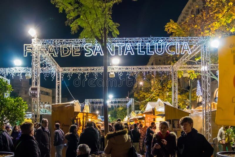 Santa Llucia christmas market at night in Barcelona, Catalonia, Spain. Santa Llucia christmas market photo at night in Barcelona, Catalonia, Spain royalty free stock photography