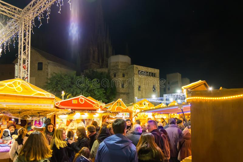 Santa Llucia christmas market at night in Barcelona, Catalonia, Spain. Santa Llucia christmas market photo at night in Barcelona, Catalonia, Spain royalty free stock image