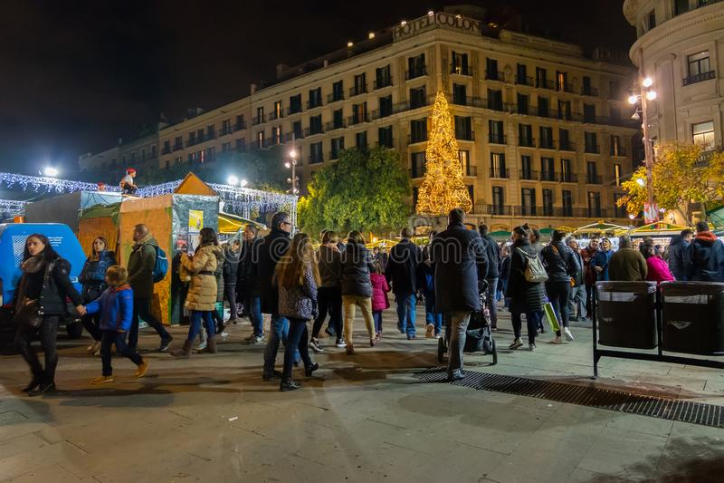 Santa Llucia christmas market at night in Barcelona, Catalonia, Spain. Santa Llucia christmas market photo at night in Barcelona, Catalonia, Spain stock photography
