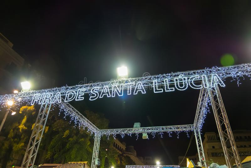 Santa Llucia christmas market at night in Barcelona, Catalonia, Spain. Santa Llucia christmas market photo at night in Barcelona, Catalonia, Spain stock photos