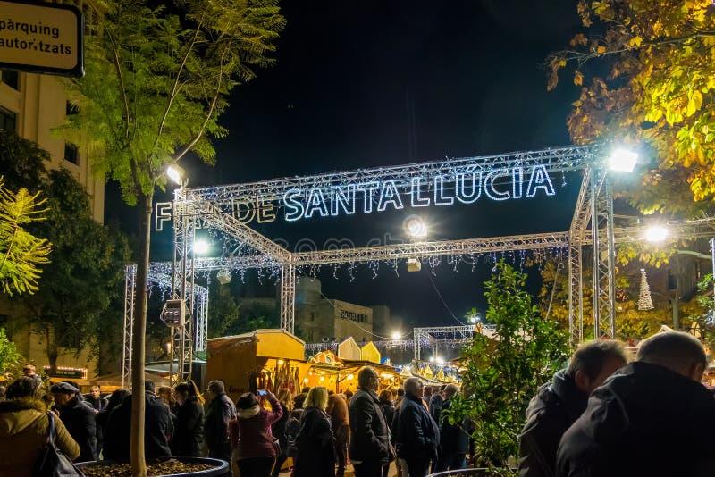Santa Llucia christmas market at night in Barcelona, Catalonia, Spain royalty free stock image