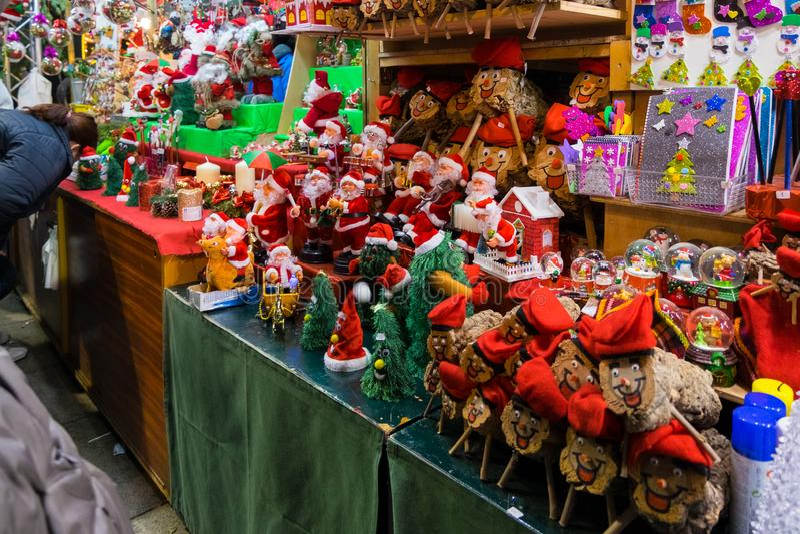 Santa Llucia christmas market at night in Barcelona, Catalonia, Spain royalty free stock photos