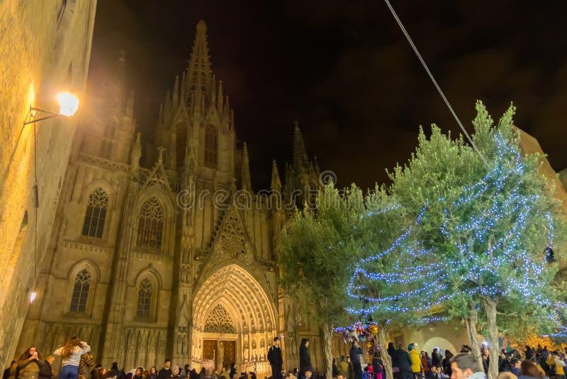 Santa Llucia christmas market at night in Barcelona, Catalonia, Spain stock photography