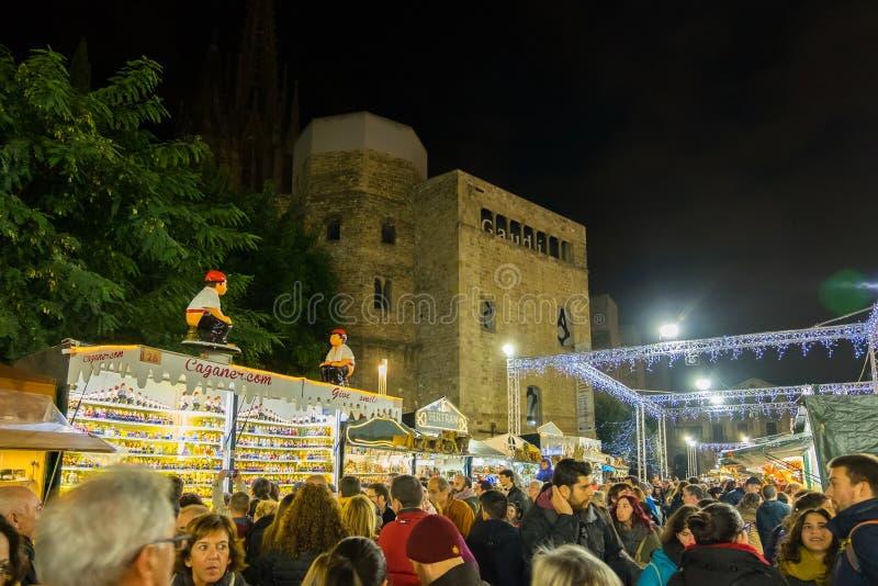 Santa Llucia christmas market at night in Barcelona, Catalonia, Spain royalty free stock photo