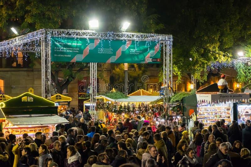 Santa Llucia christmas market at night in Barcelona, Catalonia, Spain royalty free stock photography
