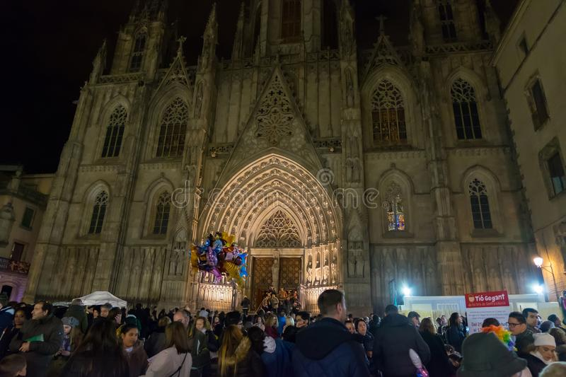 Santa Llucia christmas market at night in Barcelona, Catalonia, Spain royalty free stock images