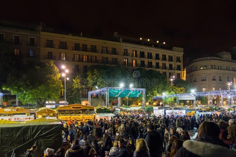 Santa Llucia christmas market at night in Barcelona, Catalonia, Spain stock photo