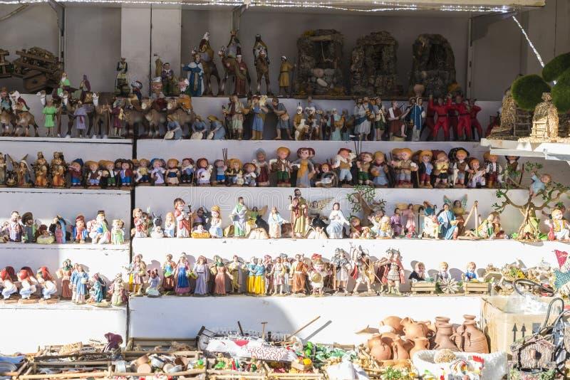 Santa Llucia Fair, Barcelona. Barcelona, Spain - December 19, 2014: Santa Llucia Fair is a Christmas market items. The most important figure is the birth of baby royalty free stock image