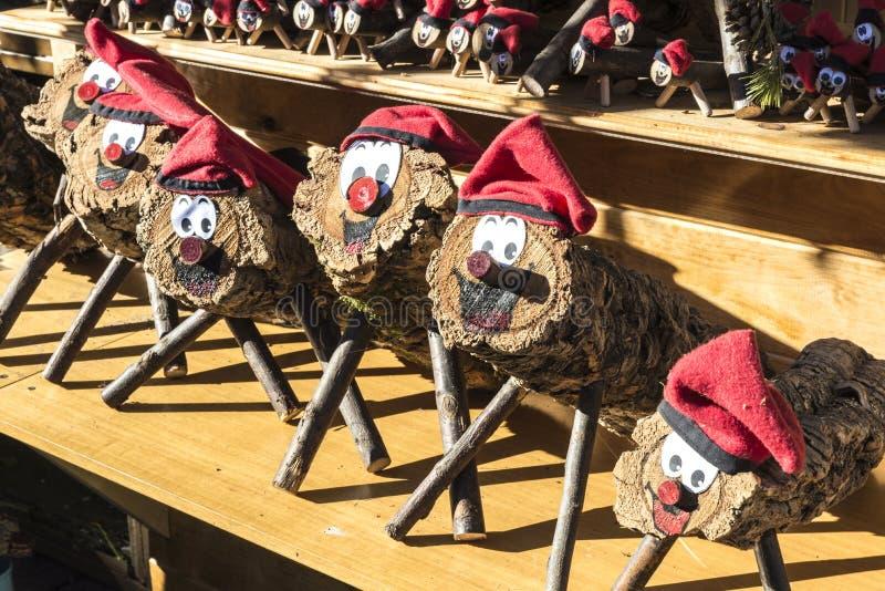 Santa Llucia Fair, Barcelona. Barcelona, Spain - December 19, 2014: Santa Llucia Fair is a Christmas market items where a significant figure is the Caga Tio stock photos