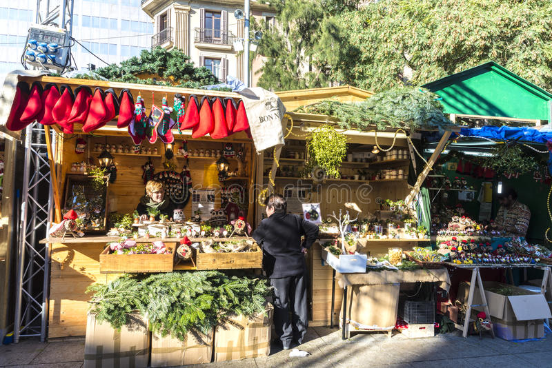 Santa Llucia Fair, Barcelona. Barcelona, Spain - December 19, 2014: Santa Llucia Fair is a Christmas market. The most important figure is the birth of baby Jesus royalty free stock images