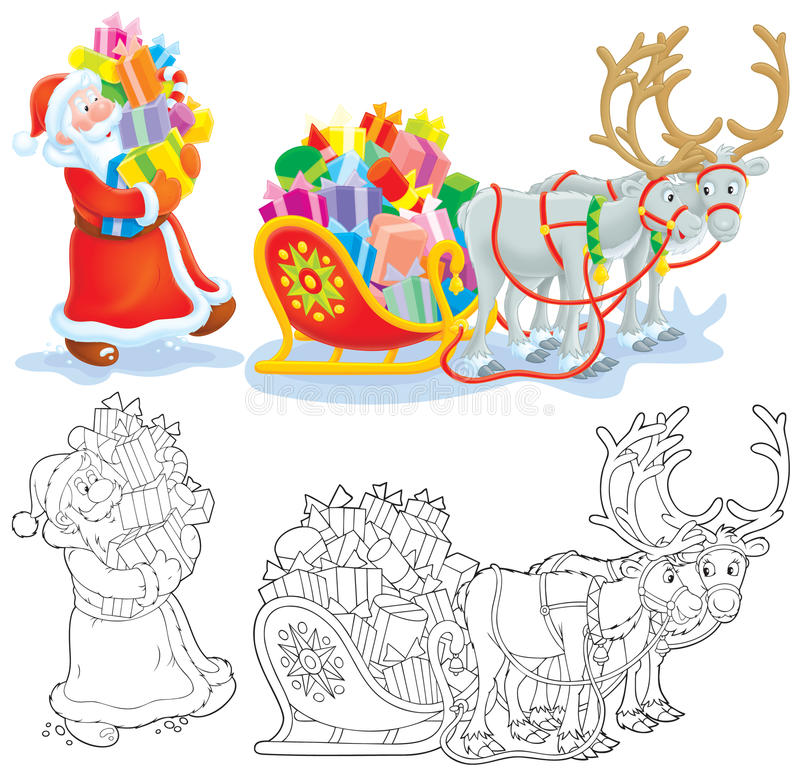 Download Santa Loads Gifts Into A Sleigh Stock Illustration - Illustration: 21596396