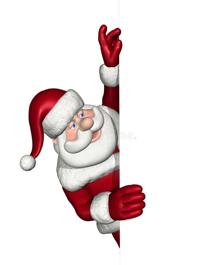 Santa Looks Over an Edge stock illustration