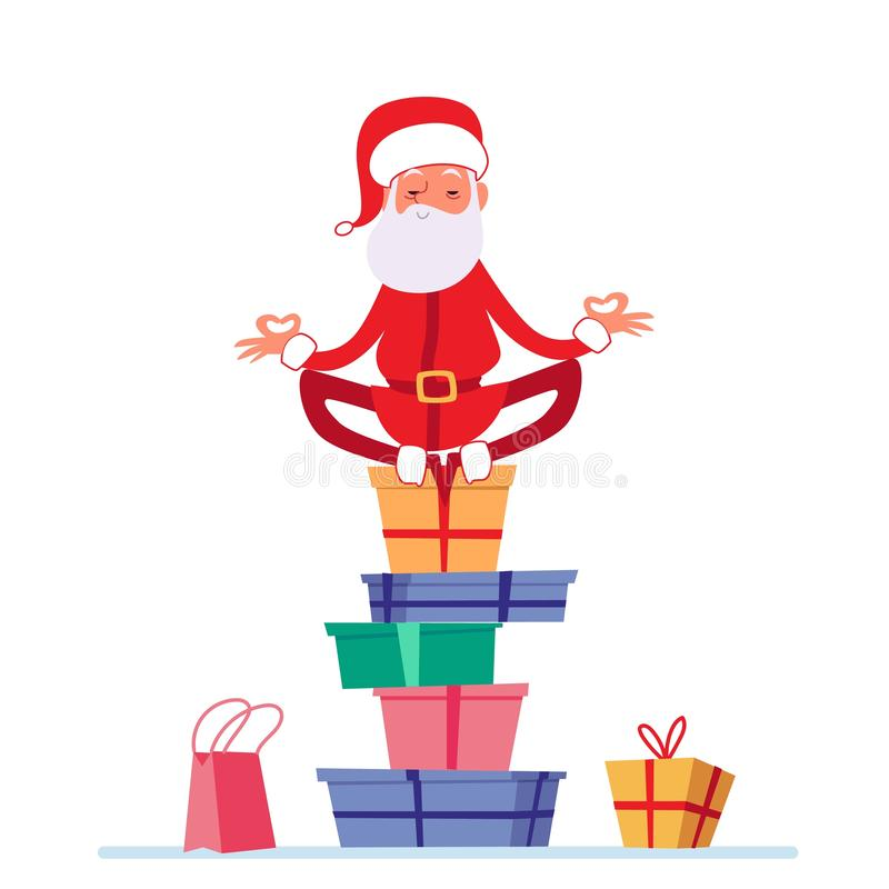 Santa in lotus yoga pose is sitting on stack of Christmas presents cartoon style stock illustration