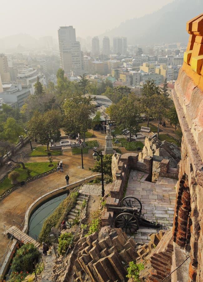 Santa Lucia Hill i Santiago de Chile royaltyfri bild