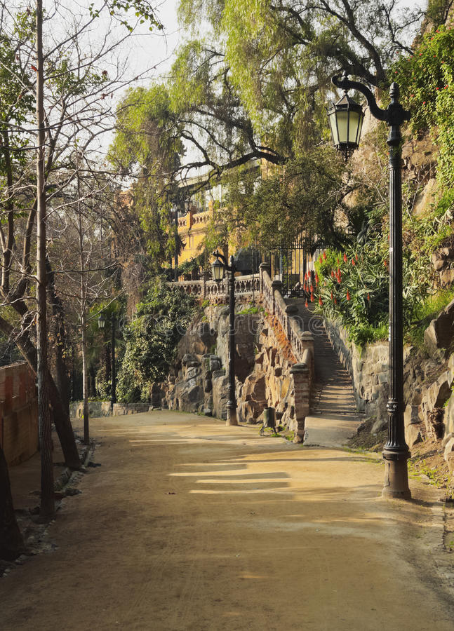 Santa Lucia Hill i Santiago de Chile royaltyfria foton