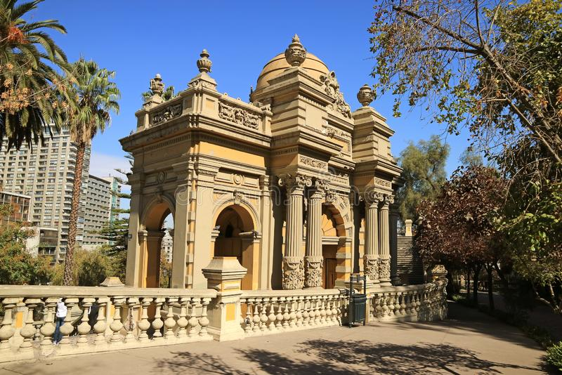 Santa Lucia Hill Public Park notável, parque histórico no centro da cidade do Santiago, o Chile foto de stock