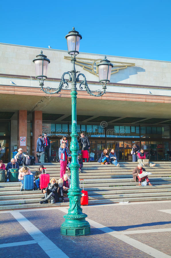Santa Lucia station with tourists in Venice, Italy stock photo