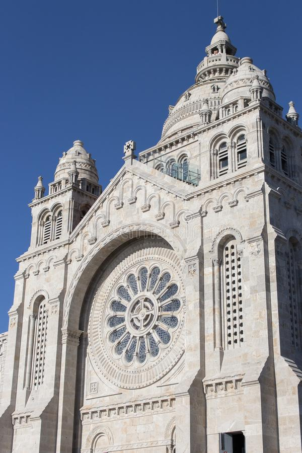Santa Luzia Basilic on Mount of Viana do Castelo against blue sky. White stone medieval church. Religious buildings concept. stock photos