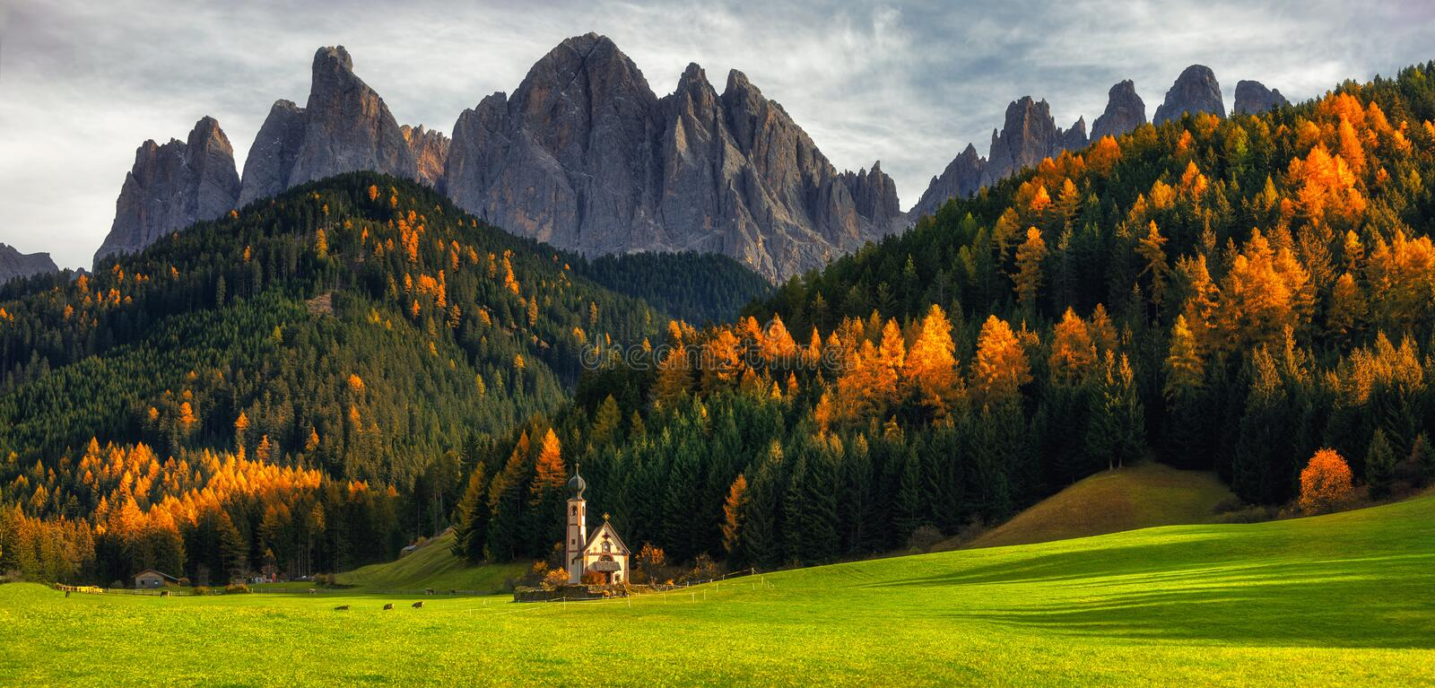 Santa Maddalena St Magdalena village with magical Dolomites mo. Untains in background, Val di Funes valley, Trentino Alto Adige region, Italy, Europe royalty free stock photo