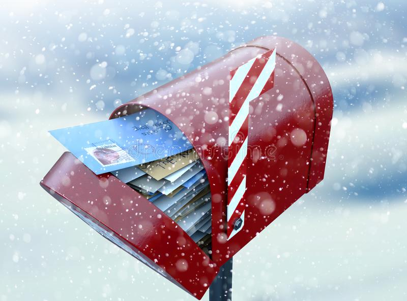 Santa Mailbox. A red retro mailbox belonging to santa clause crammed full of childrens wish list letters to him on a snowy cold background vector illustration