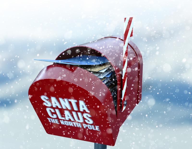 Santa Mailbox. A red retro mailbox belonging to santa clause crammed full of childrens wish list letters to him on a snowy cold background stock illustration