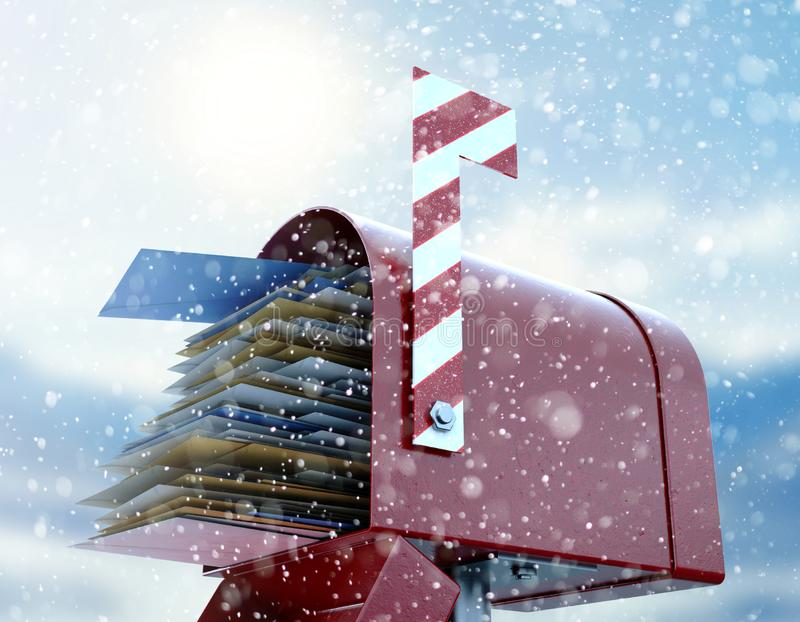 Santa Mailbox. A red retro mailbox belonging to santa clause crammed full of childrens wish list letters to him on a snowy cold background - 3D render royalty free illustration