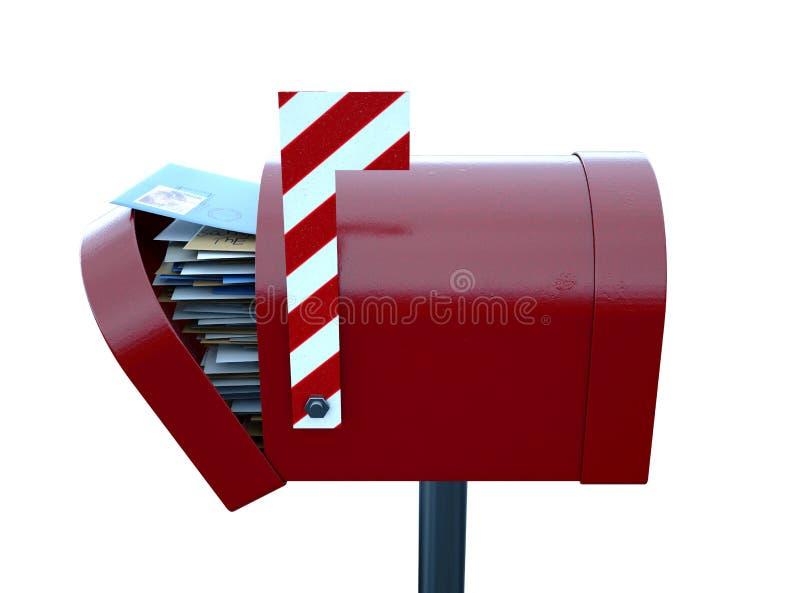 Santa Mailbox. A christmas concept depicting a shut red retro mailbox belonging to santa clause - 3D render royalty free illustration