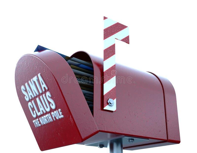 Santa Mailbox. A christmas concept depicting a shut red retro mailbox belonging to santa clause - 3D render vector illustration
