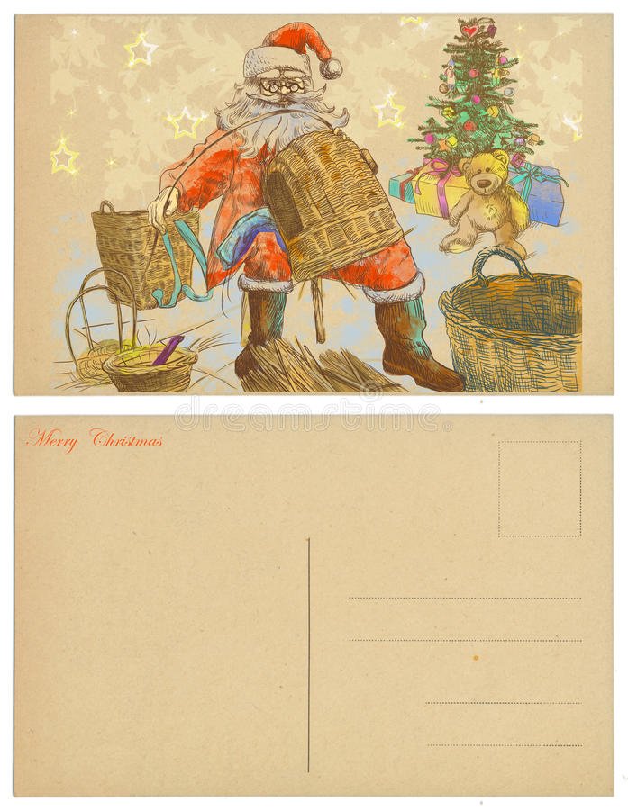 Santa Making Baskets Stock Photos