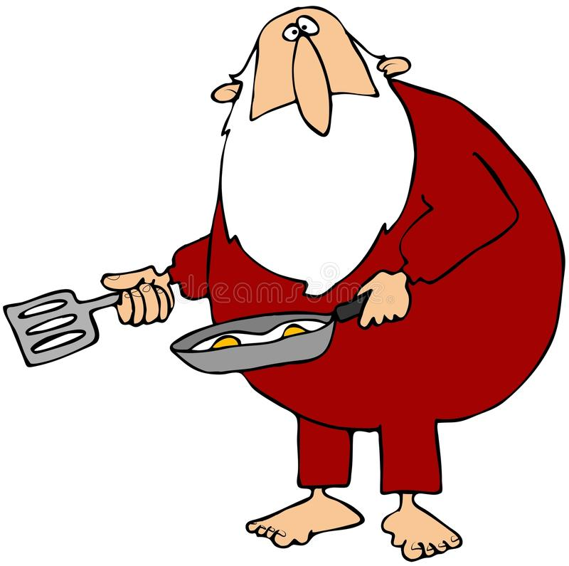 Santa Making Eggs. This illustration depicts a barefoot Santa Claus frying eggs in a pan royalty free illustration