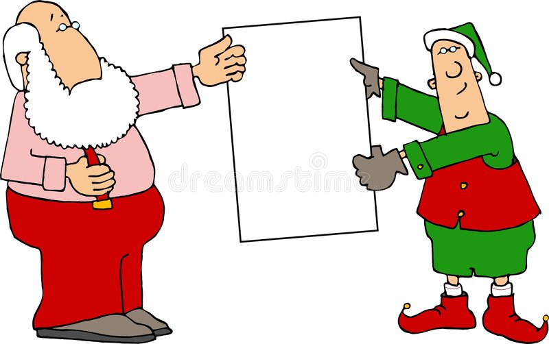 Santa making a presentation royalty free illustration