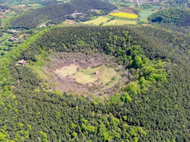 The Santa Margarida Volcano is an extinct volcano in the comarca of Garrotxa, Catalonia, Spain royalty free stock photo