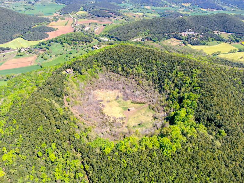 The Santa Margarida Volcano is an extinct volcano in the comarca of Garrotxa, Catalonia, Spain stock image