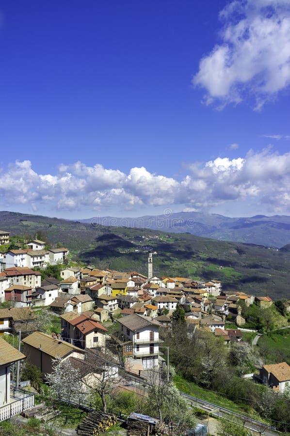Santa Margherita di Staffora-Oltrepo Pavese. Color image. A view above the village of Santa Margherita di Staffora. It's places at the beginning of Staffora stock photography