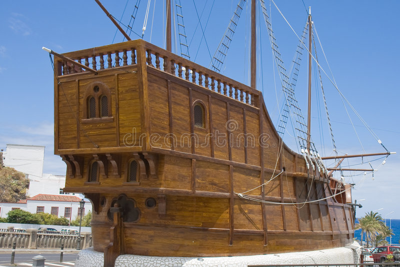 Santa Maria. Ship of Columbus at Santa Cruz, capital city of La Palma, Canary Islands stock photo