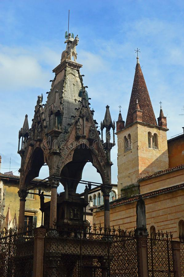The Santa Maria Antica, Verona. Santa Maria Antica is a small esque church that served as the private chapel of the Scaligeri clan, and is famous for the Gothic royalty free stock image