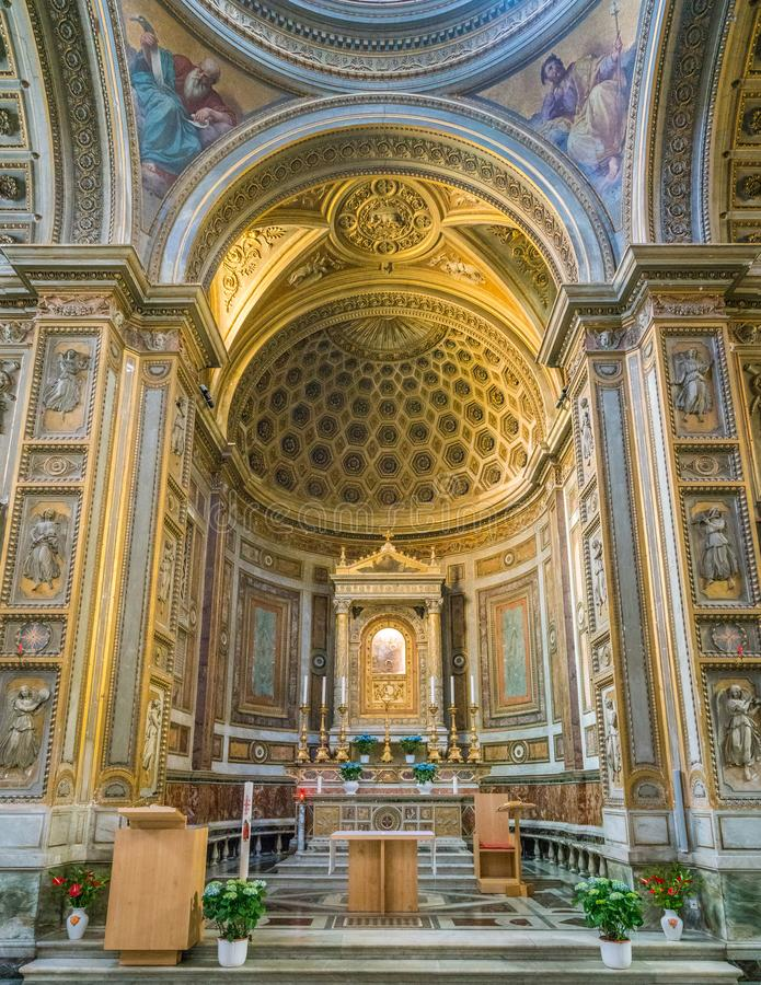 Main altar in the Church of Santa Maria in Aquiro, in Rome, Italy. Santa Maria in Aquiro is a church in Rome, Italy. It is dedicated to Mary, mother of Jesus royalty free stock images