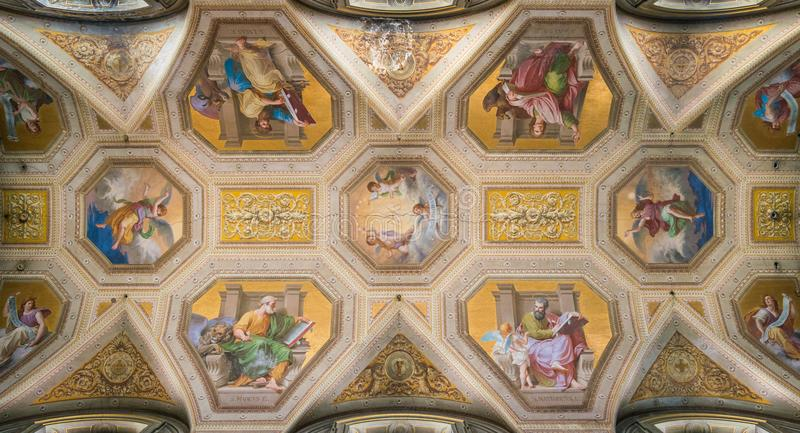 The painted vault with the four Doctors of the Church, in the Church of Santa Maria in Aquiro, in Rome, Italy. Santa Maria in Aquiro is a church in Rome, Italy stock images