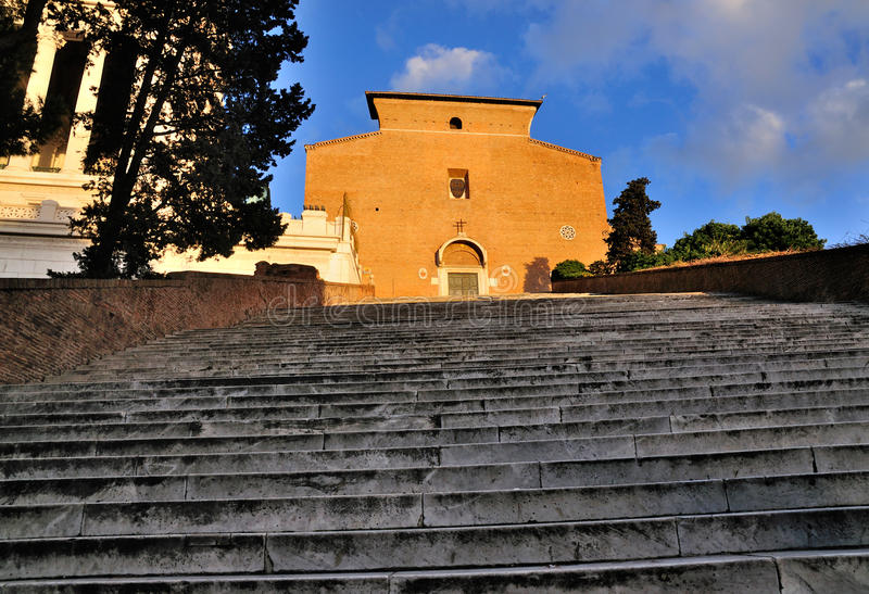 Santa Maria in Aracoeli. The Santa Maria in Aracoeli in Rome. The church stands above a very long stairway commemorating the end of the plague stock images