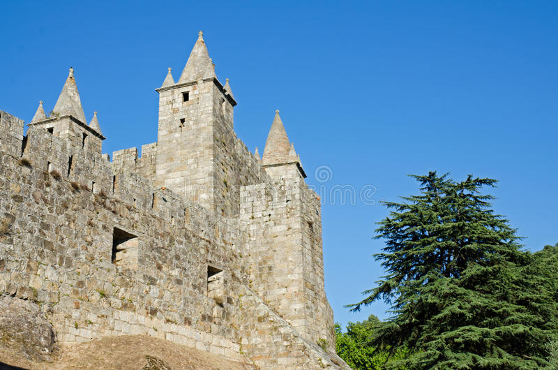 Santa Maria da Feira castle. Above view on a clear blue sky stock images