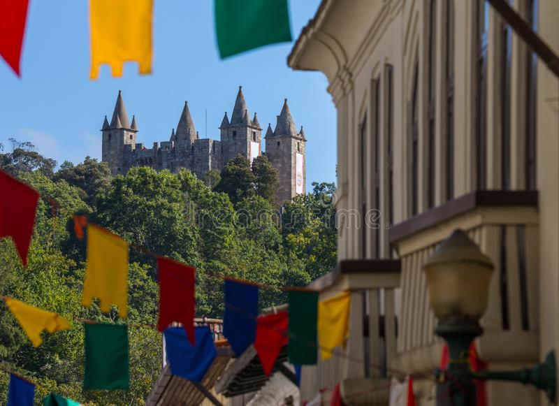 The `Santa Maria da Feira` Castle, during the event `Viagem Medieval em Terra de Santa Maria`. The `Santa Maria da Feira` Castle, during the event `Viagem stock photo