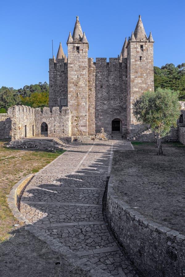 Santa Maria da Feira, Portogallo - castello di Castelo da Feira fotografia stock libera da diritti