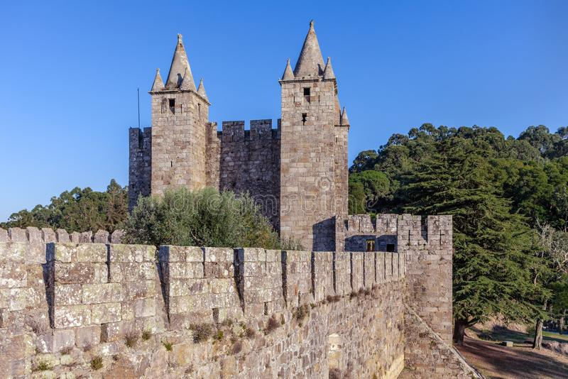 Santa Maria da Feira, Portugal - Feira Castle. Santa Maria da Feira, Portugal - October 12, 2017: Keep of the Feira Castle seen from the walls, View of stock photography