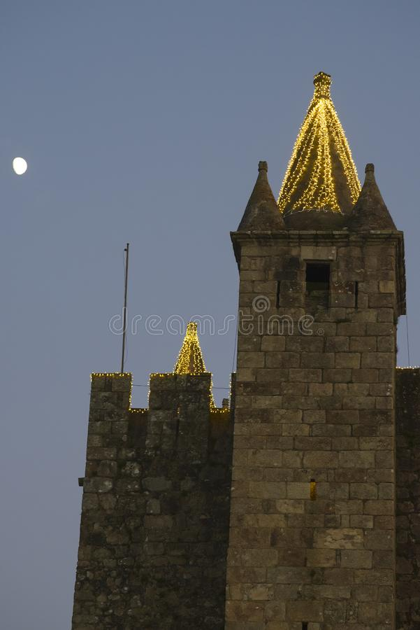 Santa Maria Da Feira Portugal. Illuminated castle tower of Perlim: the Christmas theme park royalty free stock photo