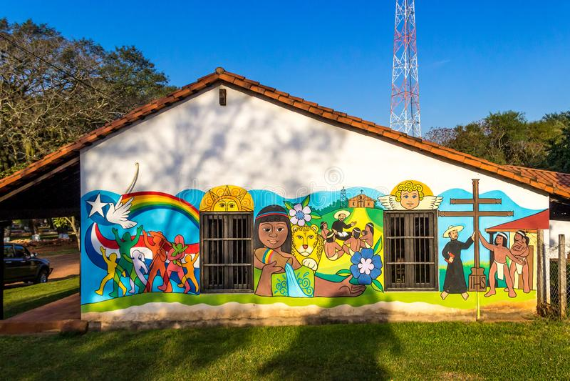 Santa Maria de Fe, Misiones, Paraguay - Decorated Wall of the Santa Maria Hotel, City of Hays Street. Decorated Wall of the Santa Maria Hotel, City of Hays royalty free stock image