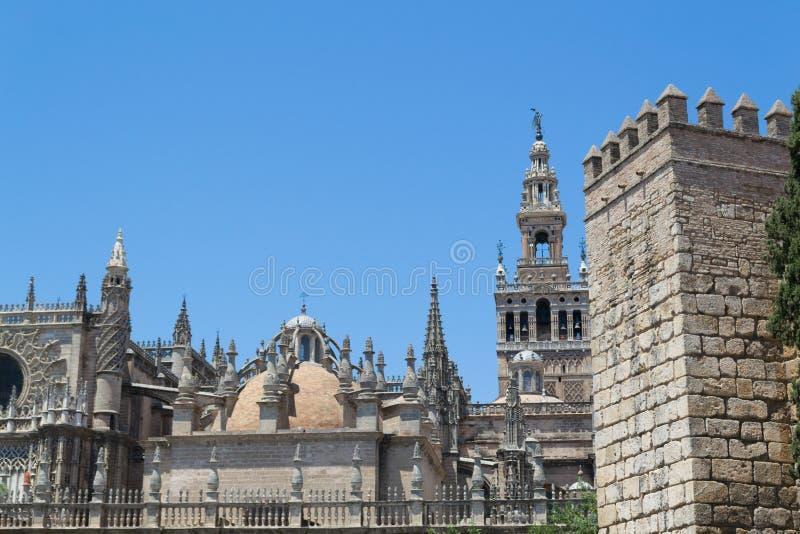 Santa Maria de la Sede Cathedral en Giralda royalty-vrije stock fotografie