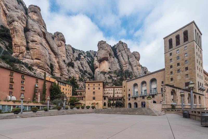 Santa Maria de Montserrat Abbey in Monistrol DE Montserrat, Cataloni?, Spanje royalty-vrije stock foto