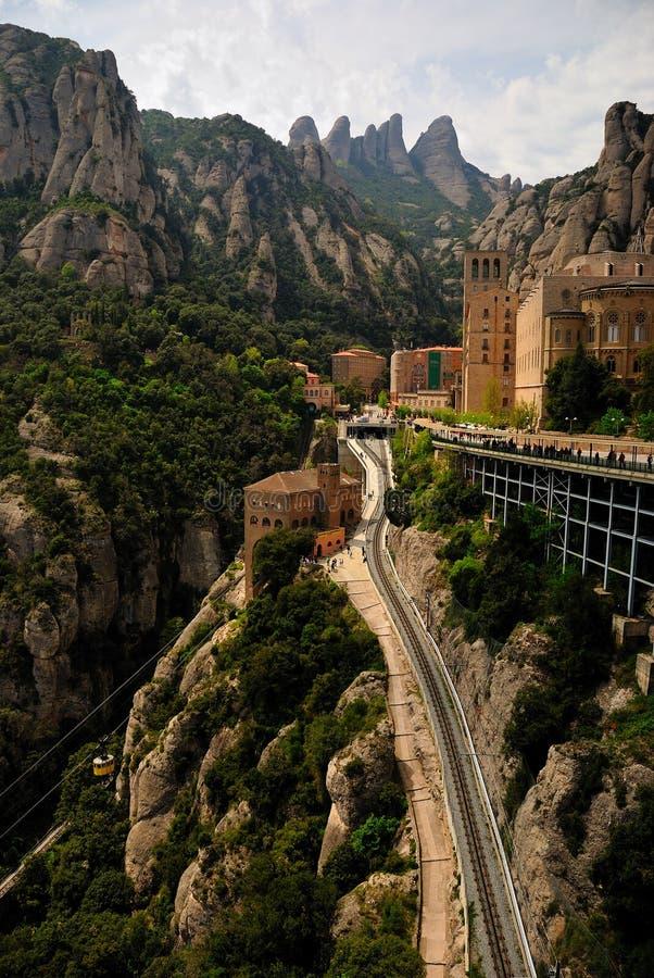Santa Maria de Montserrat. Is a Benedictine abbey located in the Montserrat mountain, in Monistrol de Montserrat, in Catalonia, Spain. Montserrat, whose name royalty free stock photos